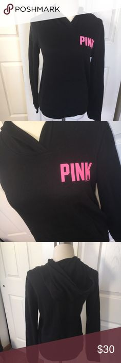Black Victoria's Secret Pink Hoodie Size : Small Fleece hoodie Good Condition PINK Tops Sweatshirts & Hoodies