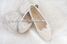 Ballerines blanches a dentelles pour mariée