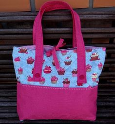 tote bag or purse with cupcake print fabric