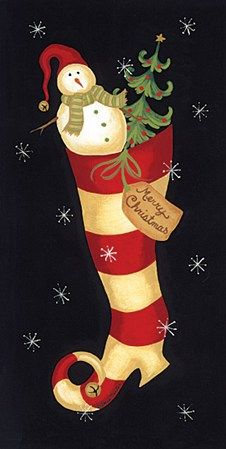 Becca Barton - Christmas Stocking - art prints and posters Christmas Drawing, Christmas Paintings, Christmas Art, All Things Christmas, Vintage Christmas, Christmas Stockings, Christmas Holidays, Christmas Decorations, Christmas Ornaments