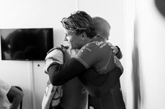 Mick Fanning and Julian Wilson share a moment of relief safely back on the beach. Seconds after Mick Fanning was attacked by a shark, he and Julian Wilson were picked up by safety boats and removed from the water. Neither surfer was physically harmed. Once again we want to express our gratitude to the Water Safety Team. #JBayOpen