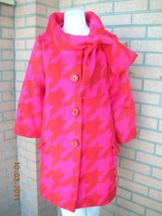 Kate Spade pink and red houndstooth mod wool blend bow coat.