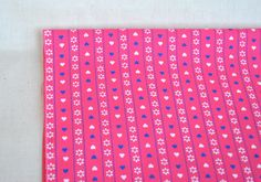 Vintage pink cotton fabric with mini blue and white hearts ornament print, Christmas fabric by the yards 2.5 yards by Klaptik on Etsy