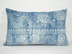 14x22 Vintage Indigo Batik Pillows Old Chinese