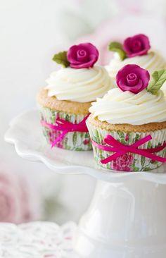 Beautiful Cupcakes with Edible Pink Flowers :: Primrose Bakery