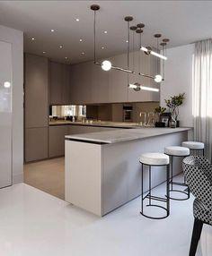 44 amazing modern kitchen design ideas you will love 10 Kitchen Room Design, Luxury Kitchen Design, Home Decor Kitchen, Interior Design Kitchen, Beautiful Kitchen Designs, Beautiful Kitchens, Apartment Interior, Apartment Design, Modern Kitchen Interiors