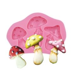 1 x Fairy Tale Mushrooms Silicone Mold Mold Size: See Picture for Size Material: Silicone Temperature: -40° ~ +230° ★ Easy to clean ★ Food Safe, FDA Approved ★ Can be used in the refrigerator, oven, d