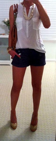 Night  Blouse Heels Shorts  Pearls