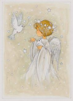 Artist Annabel Spenceley ~ Angel And Doves More Best Picture For Decoupage collage For Your Taste You are looking for something, and it is going to tell you exactly what you are looking for, and you d Christmas Angels, Christmas Art, Vintage Christmas, Angel Drawing, Angel Pictures, Angels Among Us, Angel Cards, Guardian Angels, Christmas Pictures