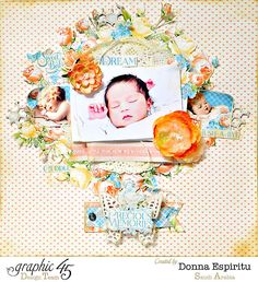 Precious memories - Scrapbook.com - Beautiful baby layout made with Graphic 45's Precious Memories collection.