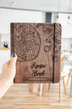 Personalized Wooden Recipe Book Binder Custom Journal Cookbook Notebook Gift for Daughter Mother Bridal Shower Wife To Be Bridesmaid Gift Mother Day Gifts, Gifts For Mom, Blank Cookbook, Book Binder, Custom Journals, Blank Book, Mom Birthday Gift, Valentine Day Gifts, Valentines