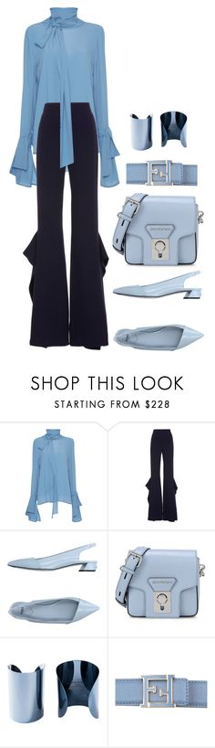 """""""blue outfit"""" by ekaterinaaivazyan ❤ liked on Polyvore featuring Marni, Leal Daccarett, Fendi, Karl Lagerfeld and Maison Margiela"""