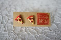 Round She Goes - Market Place - Pizza Polymer Clay charm jewelry earrings stud gift