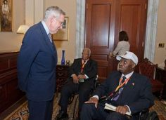 Nevada Senator Harry Reid met with Mr. Leon Moten and Mr. Irvin Odom, two of the three known surviving Montford Point Marines who now reside in Las Vegas. Mr. Odom and Mr. Moten joined other surviving Montford Point Marines from across the United States at a ceremony in the United States Capitol Building to receive Congressional Medals of Honor in July 2012.