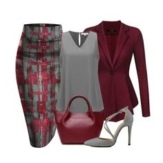 Hybrid and Company printed pencil skirt, an ACEVOG peplum blazer Jacket, A Regina X v-neck blouse, a genuine leather trapeze luxury handbag and a pointy toe cross strap stiletto completes a great look. Classy Outfits, Chic Outfits, Fashion Outfits, Womens Fashion, Fashion Trends, Casual Outfits For Girls, Camo Fashion, Fashion Tips For Women, Unique Outfits