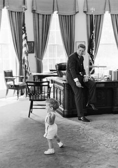 President John F. Kennedy and John F., in Oval Office - John F.