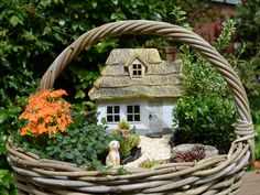 Miniaturgarten mit Reetdach-Häuschen in einem Korb mit Wachhund.\\n\\n05.09.2016 18:01