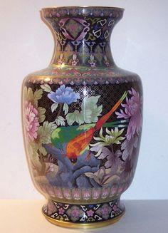 Antique Oriental Cloisonne Vase Large 4 Birds Cherry MUM Lotus 15 5 Tall 8 Diam | eBay