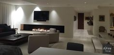 Cheminée Design Moderne Ethanol AFIRE www.a-cheminée. Bioethanol Fireplace, Fireplace Set, Fireplace Inserts, Modern Fireplace, Cozy Living, Living Area, Villa Design, House Design, Living Room Theaters
