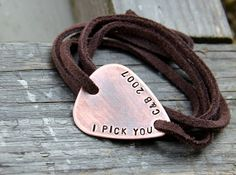 Custom Guitar Pick Wrap Bracelet in Copper and Leather - Personalize for Dad, Husband, or Boyfriend