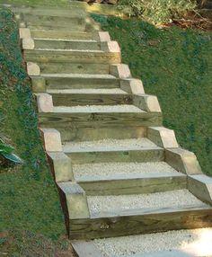railroad tie stairs. deer lake
