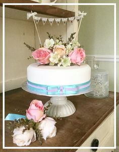 """Lace Wedding Cakes """"Engaged"""" lace and hessian detail wedding bunting cake topper. Wedding Cake Bunting, Wedding Cake Rustic, Wedding Cakes With Flowers, Cool Wedding Cakes, Wedding Cake Designs, Wedding Cake Toppers, Lace Wedding, Diy Wedding, Wedding Reception"""