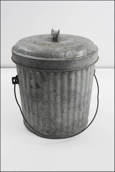 vtg industrial trash can metal w lid bale handle loft small kitchen bin factory