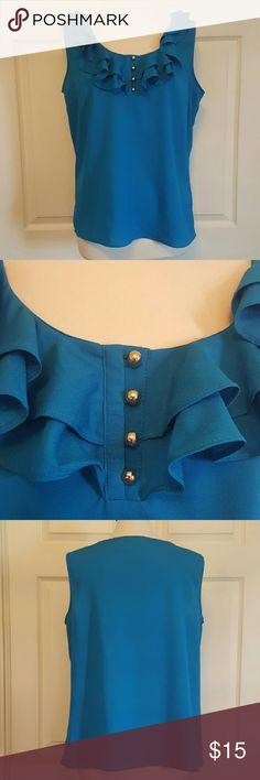NY&CO Blue Ruffled Dressy Sleeveless Top Size XL Size XL no rips, tears or stains New York & Company Tops
