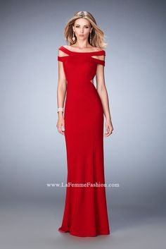 917132c9491 Off-The-Shoulder Jersey Gown by La Femme 22728. WhatchamaCallit Boutique
