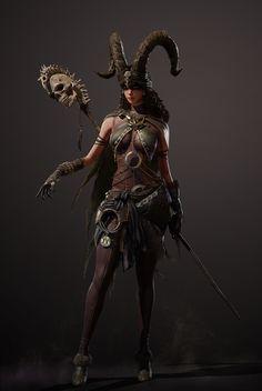 Fantasy Wizard, Fantasy Warrior, Fantasy Girl, Dark Fantasy, 3d Model Character, Female Character Design, Character Art, Character Concept, Character Ideas