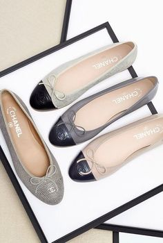 chanel cap toe ballet flats--I would have a complete wardrobe of these if I won the lottery. Love them, love the comfort and the style and these have perfect proportions--very hard to find in any other brand.