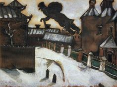chagall - Old Vitebsk. A study for the painting Over Vitebsk. 1914.