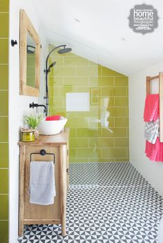 Bathroom with red vanity, white tiles and undersink storage, Handyman  magazine