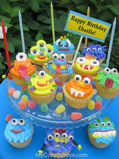Cupcakes Take The Cake: When cupcake monsters attack Themed Cupcakes, Cute Cupcakes, Birthday Cupcakes, 2nd Birthday, Birthday Ideas, Summer Cupcakes, Cupcake Cakes, Cupcake Ideas, Party Desserts