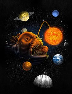 What?! An angler fish with the solar system. My son digs this.