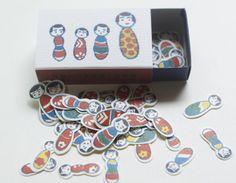 マッチ箱シール 「こけしちゃん」 68片