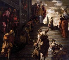The Presentation of the Virgin, by Tintoretto, 1553-56, from the church of the Madonna dell'Orto in Venice.