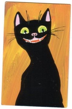 Crazy Black Cat Smiles small original outsider halloween cat lover art painting  #Outsider