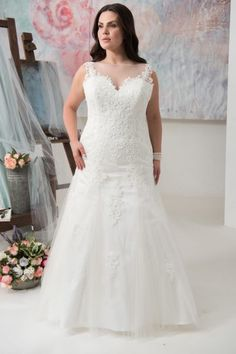 Buy Discount Glamorous Tulle Chiffon Scoop Neckline A Line Plus Size Wedding Dress With Beadings Lace Appliques At Ailsabridal