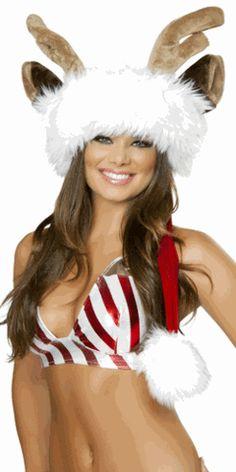 Sexy Deluxe Reindeer Faux Fur Santa Hat