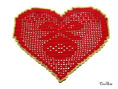 Red Christmas crochet heart doily Christmas table