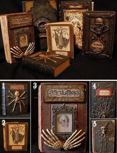 """halloweencrafts: """" DIY Halloween Altered Books - Tutorials and Printables Included Updated Links 2019 This is an updated post of a previous roundup of DIY Halloween Books from Seeing Things, my. Halloween Prop, Diy Halloween Books, Halloween Spell Book, Casa Halloween, Halloween Spells, Halloween Fonts, Halloween Cosplay, Diy Halloween Decorations, Holidays Halloween"""