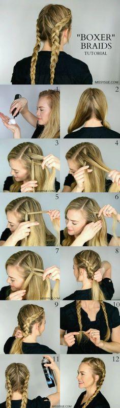 Best Hair Braiding Tutorials - Dutch Boxer Braids - Easy Step by Step Tutorials ., Best Hair Braiding Tutorials - Dutch Boxer Braids - Easy Step by Step Tutorials for Braids - How To Braid Fishtail, French Braids, Flower Crown, Side . French Braid Hairstyles, Braided Hairstyles Tutorials, Girl Hairstyles, Trendy Hairstyles, Hairstyle Ideas, School Hairstyles For Teens, Gorgeous Hairstyles, Summer Hairstyles, Popular Hairstyles