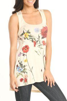 Trend 2013 Flower prints - Libertalia Crochet Patch Back Tank