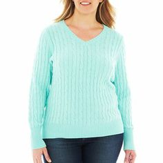 Cable V-Neck Sweater - jcpenney