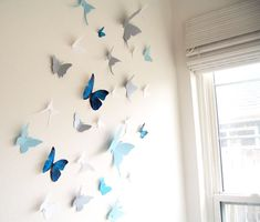 parede borboletas azul