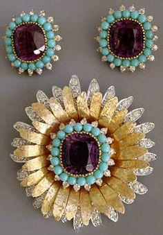 Mazer - Jomaz - Bijoux Vintage - Parure Broche  et Boucles d'Oreilles 'Turquoises et Améthyste'