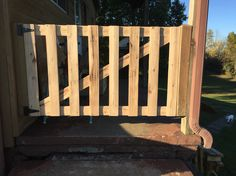 Porch gate made from oak pallets.