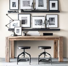 industrial desk and zinc wall shelves
