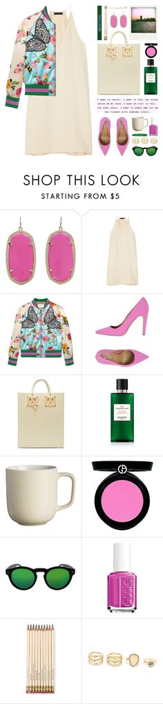 """gucci bomber jacket"" by jesuisunlapin on Polyvore featuring Kendra Scott, The Row, Gucci, La Fille Des Fleurs, Sophie Hulme, Price & Kensington, Armani Beauty, Polaroid, Illesteva and Essie"